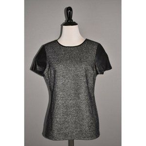 TALBOTS  Wool Faux Leather Trim Top
